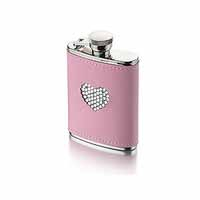 Pink Diamante Heart Hip Flask