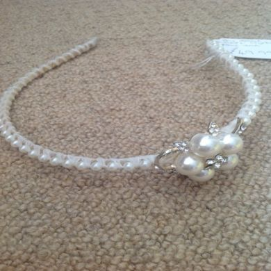 Bow Detail Swarovski Crystal Pearl Trim Head Band